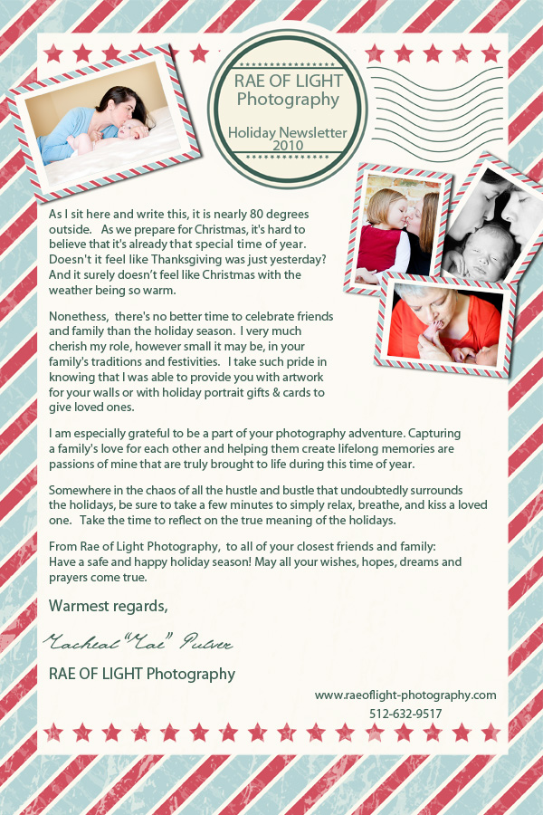 Holiday Newsletter   Austin  Round RockS Family Photographer